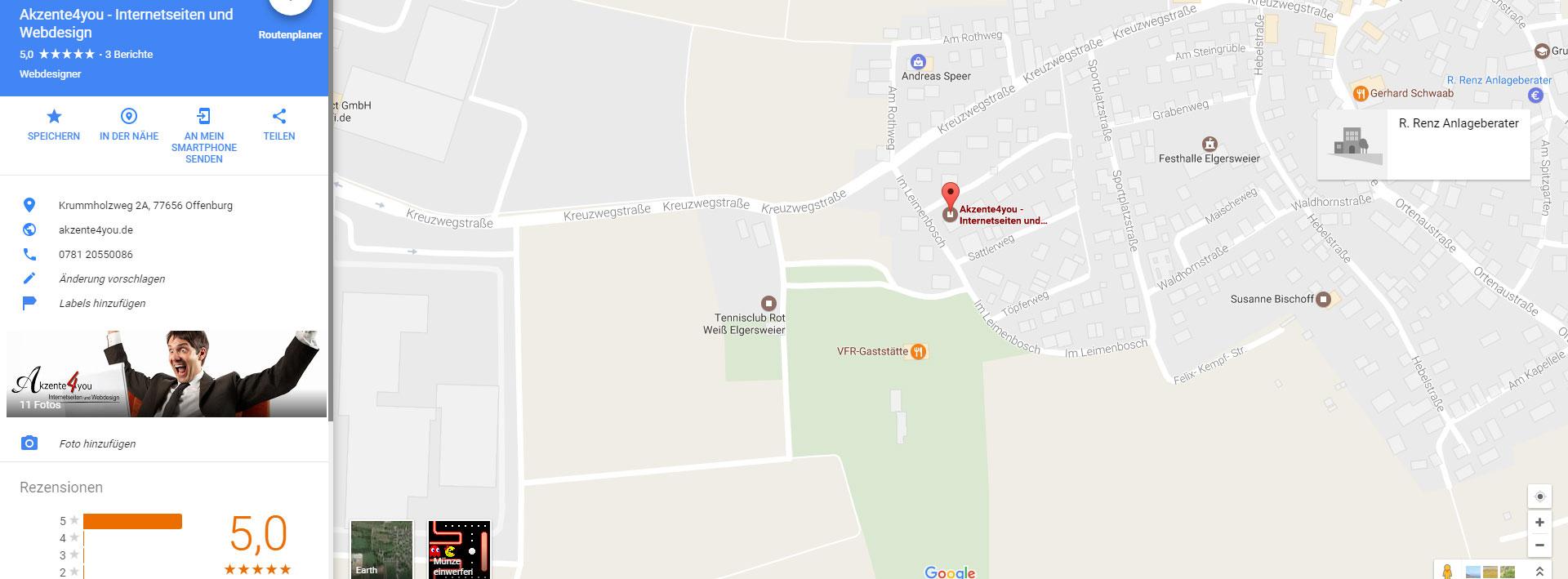 Google Maps Brancheneintrag von Akzente4you