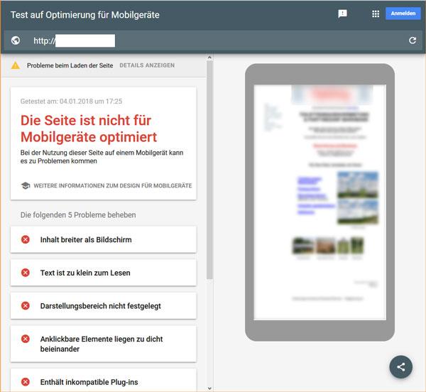 Nicht mobilfähige Homepage Beispiel