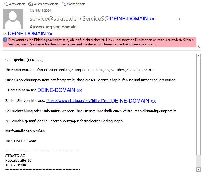Аussetzung von domain ..... Phishing E-Mail