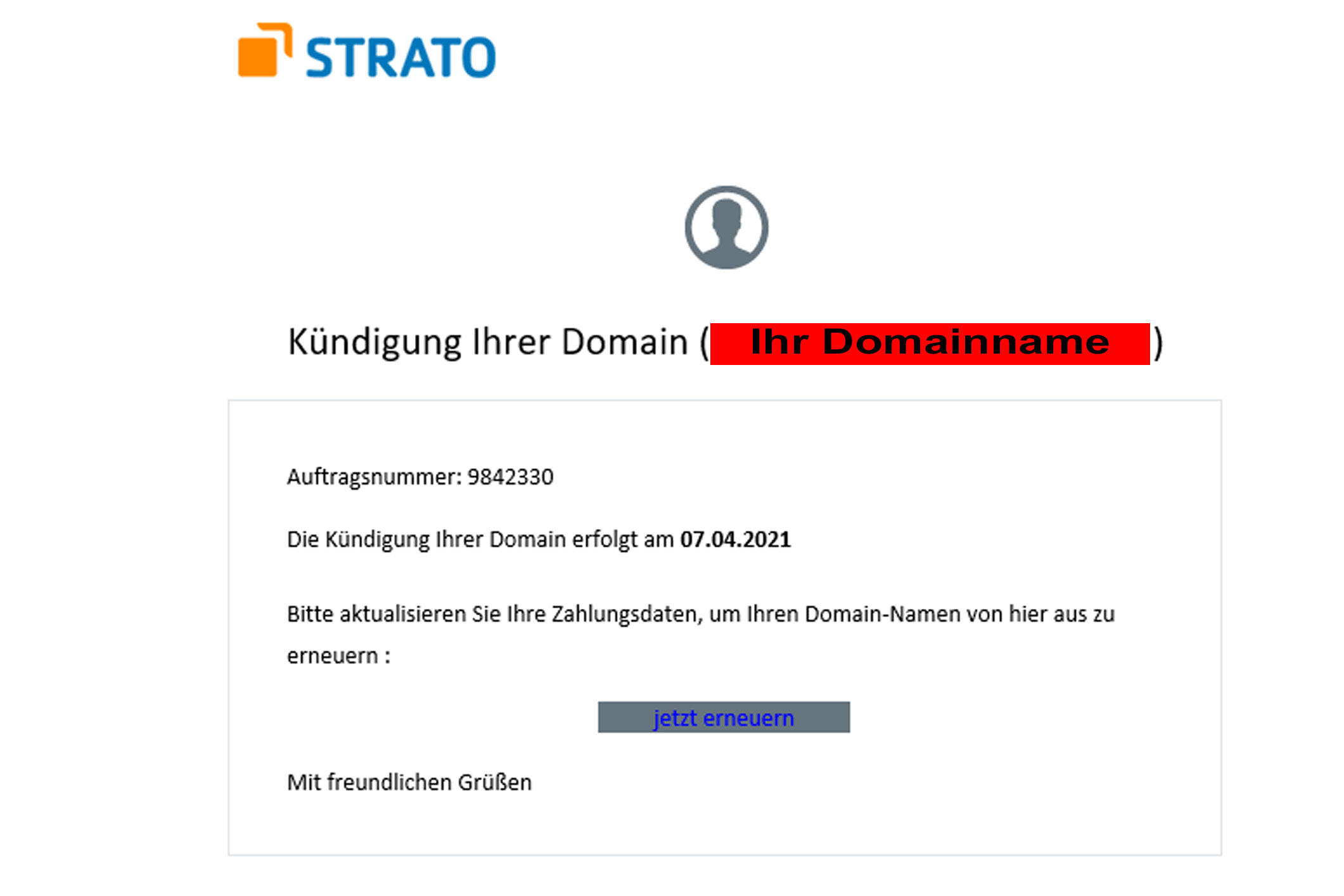 Kündigung Ihrer Domain .....Phishingmail angeblich von STRATO